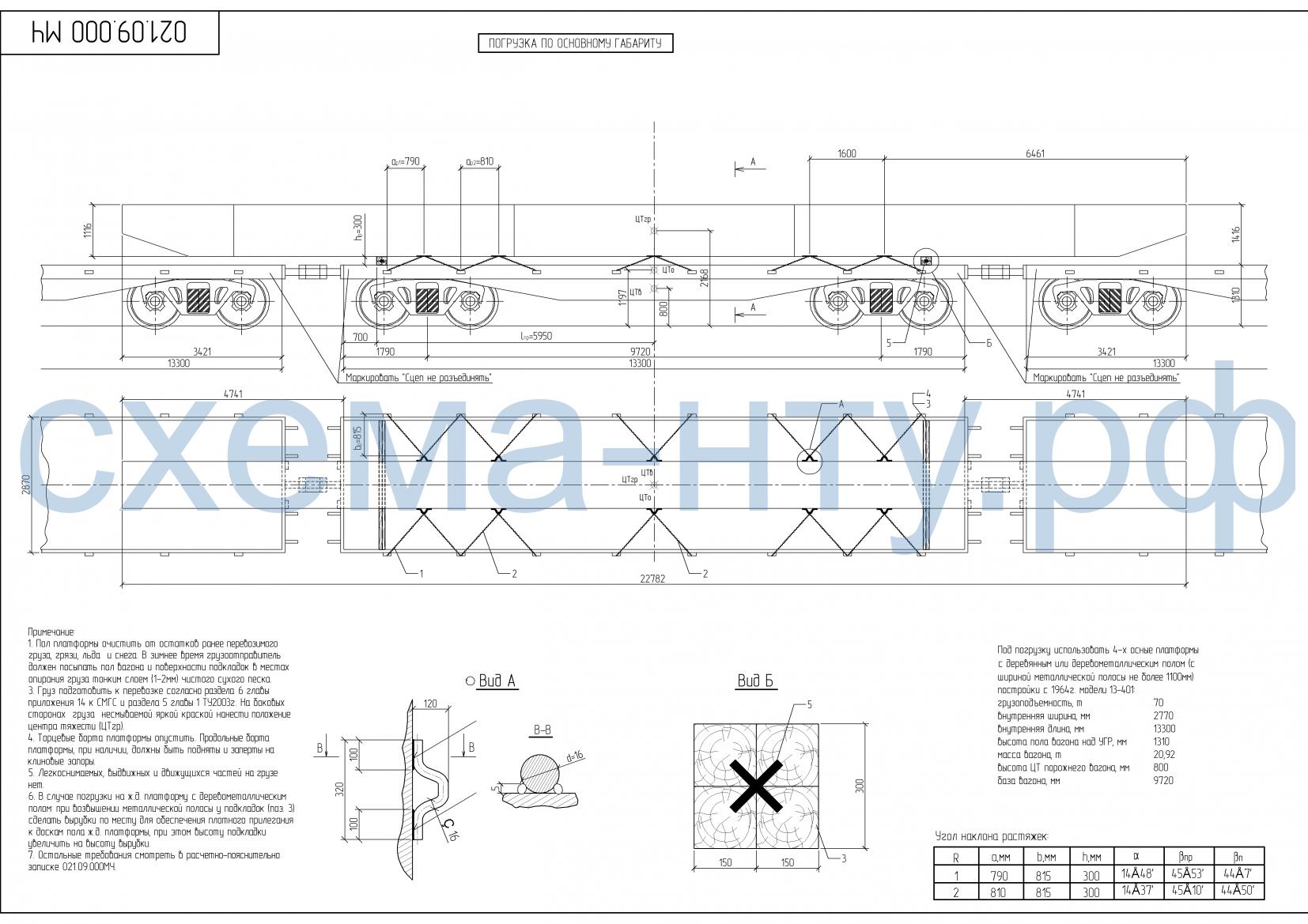 Схема погрузки длинномерного груза - чертеж НТУ
