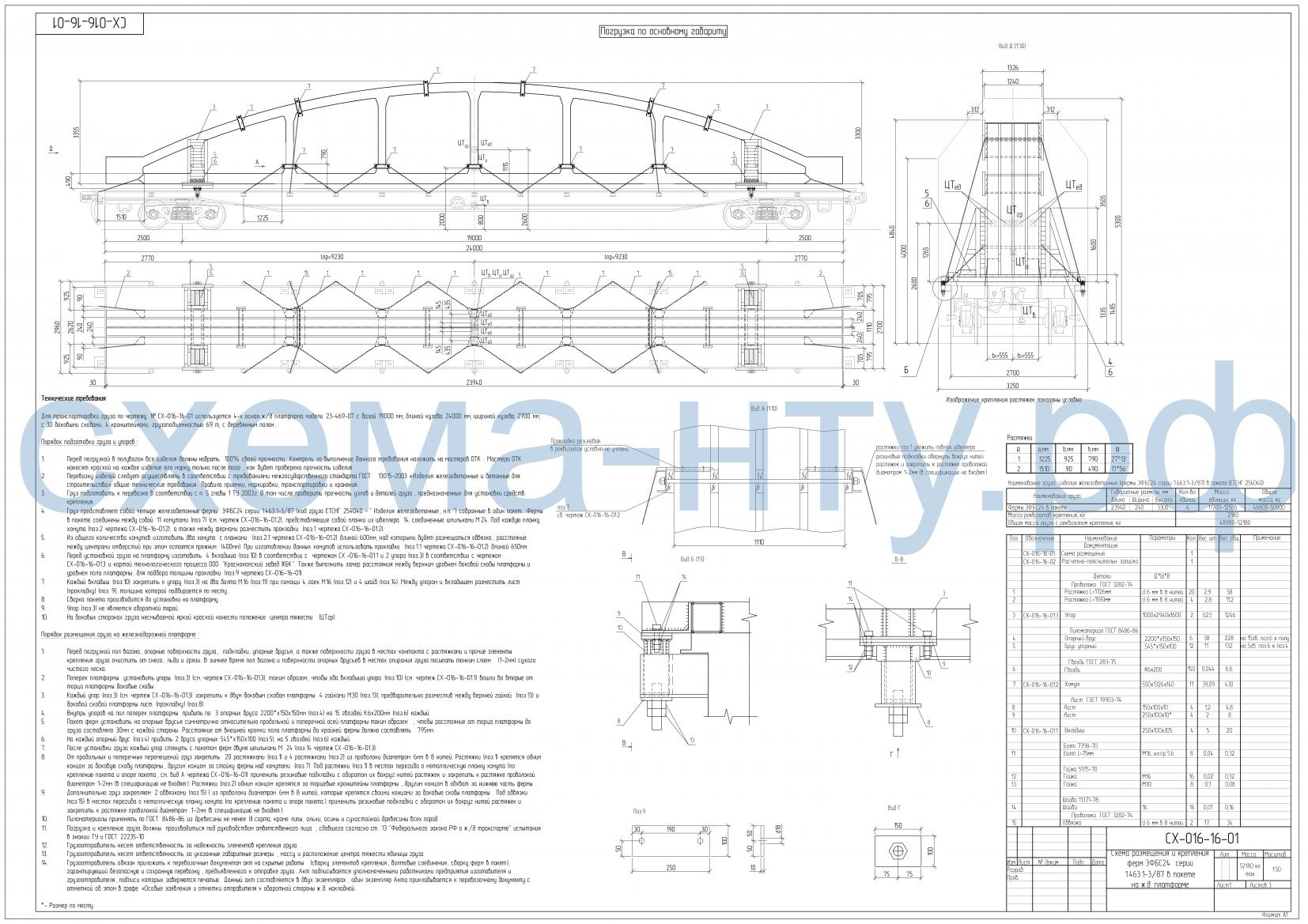 Схема погрузки груза на длиннобазной платформе - чертеж НТУ